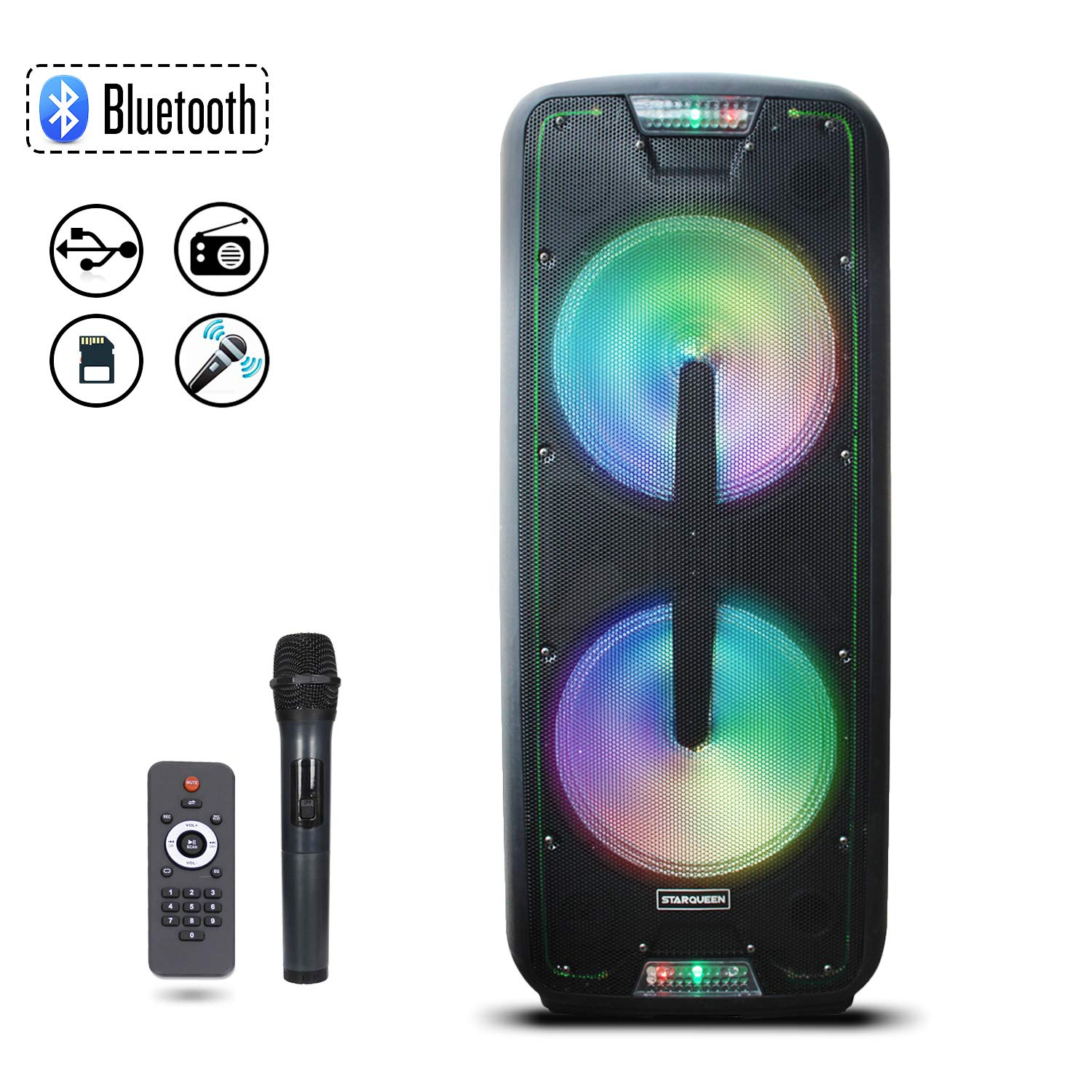 Starqueen Bluetooth PA Speaker Dual 12'' Woofers with Wireless UHF Microphones, Battery Powered Rechargeable Karaoke DJ Speaker with LED Lights, Active Loud Digital Sound Box, FM/MP3/USB/SD/TF/AUX