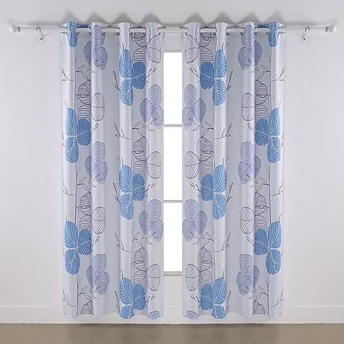 Deconovo Thermal Insulation Blackout Light Blocking Leaf Printed Window Curtain Panels