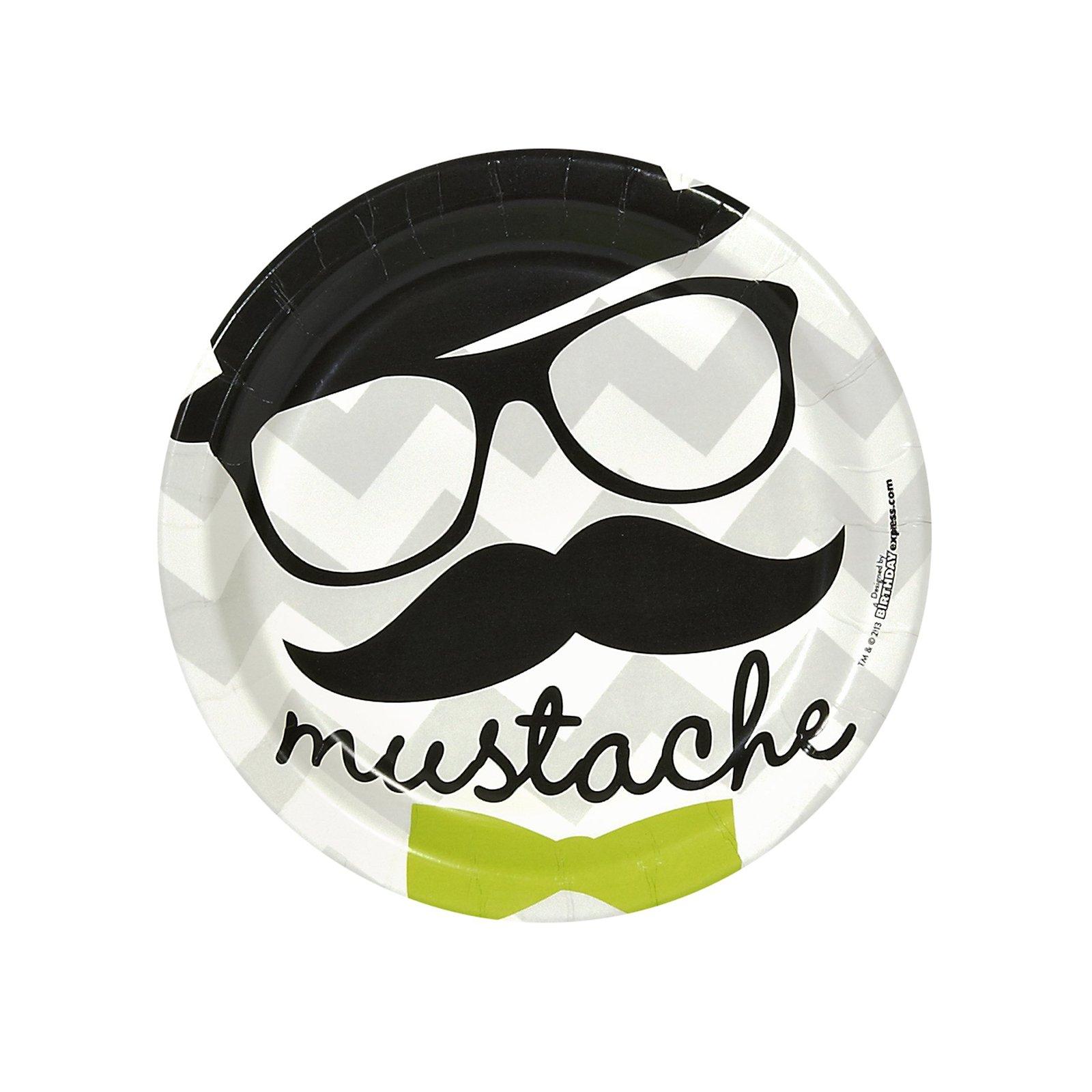 BirthdayExpress Mustache Man Party Supplies - Dessert Plates (8)