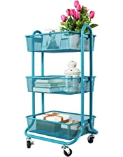 DESIGNA Rolling Cart 3-Tier Mesh Utility Cart Mesh Wire Storage Cart with Lockable Wheels Ideal for Bedroom Kitchen Bathroom Garage Office Blue