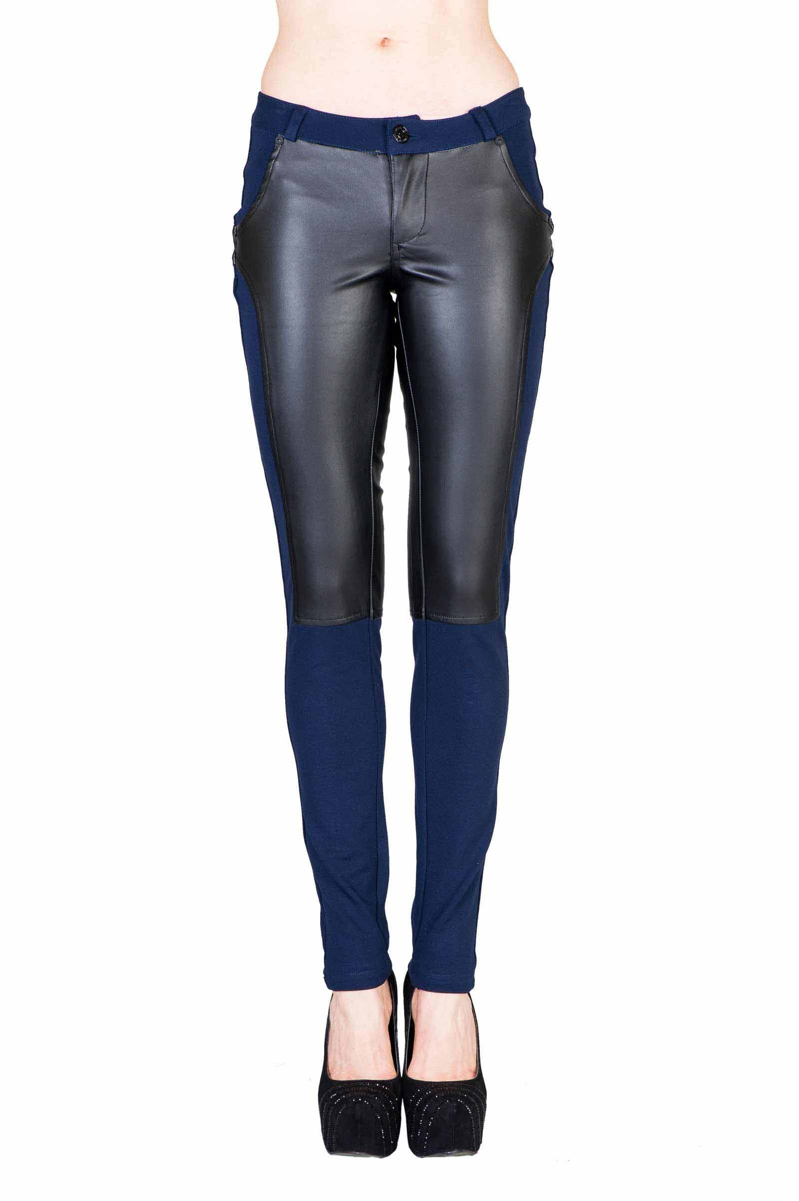 VIRGIN ONLY Women's Textured Skinny Pants (73 Navy, Size S)