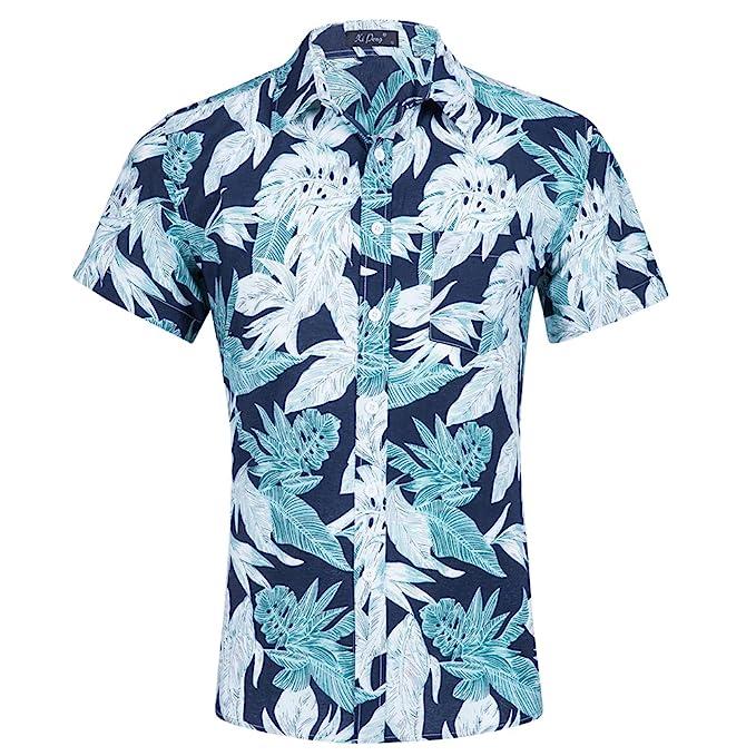 Pinkpum Camisa Hawaiana Manga Corta para Hombre, Diseño de Palmeras y Flores Manga Corta para la Playa, Fiestas, Verano y Vacaciones