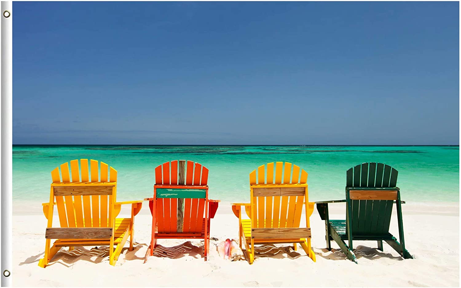 ShineSnow Summer Exotic Tropical Colorful Chairs On Beach Sea Ocean Nature 3x5 Feet Flag, Polyester Double Stitched with Brass Grommets 3 X 5 Ft Flag for Outdoor Indoor Home Decor