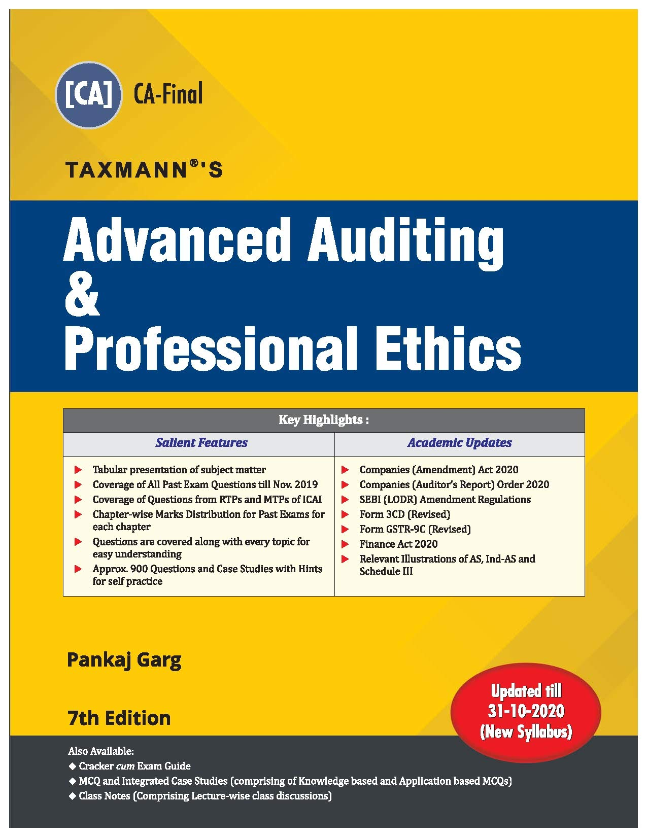 Taxmann's Advanced Auditing & Professional Ethics   CA Final–New Syllabus   Updated till 31-10-2020   7th Edition   December 2020
