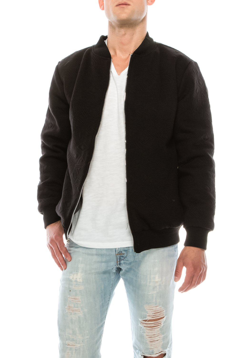 KlothesKnit Men's Bomber Jacket Casual Solid Texture Zip-up Outerwear with Pockets XXXL Black