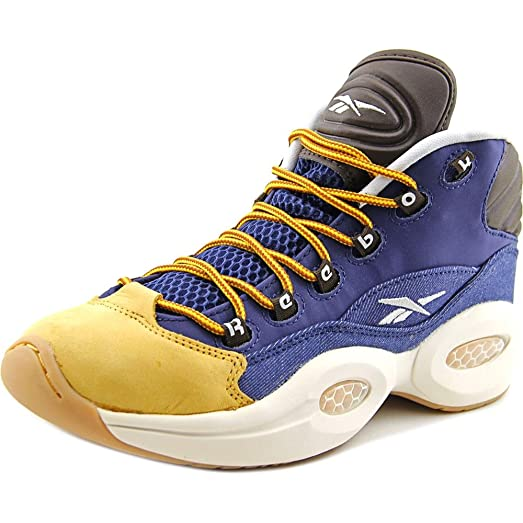 Amazon Com Reebok Question Mid Youth Round Toe Leather Blue