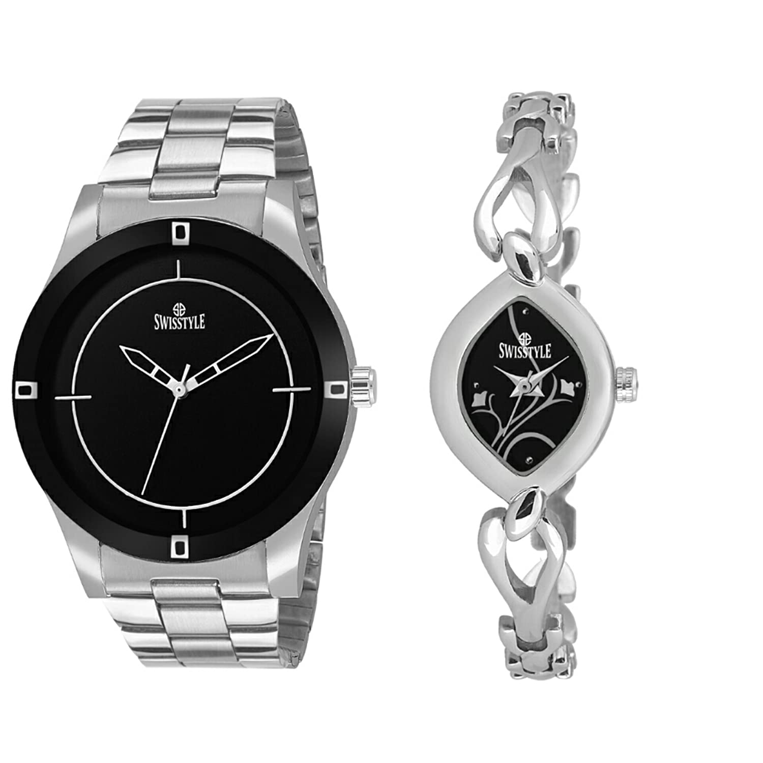 3d65314049c Buy Swisstyle Analog Black Dial Men s and Women s Combo Watch-  SS-1718B-300B Online at Low Prices in India - Amazon.in
