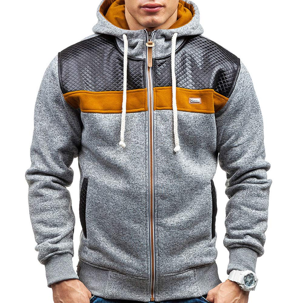 SWPS Men' s Warm Jackets, Male Autumn Winter Fleece Cardigan Hooded Fashion Warm Sweater Coat