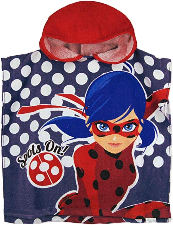 Lora Dora Poncho con capucha para niñas Miraculous Ladybug 100% algodón: Amazon.es: Ropa y accesorios