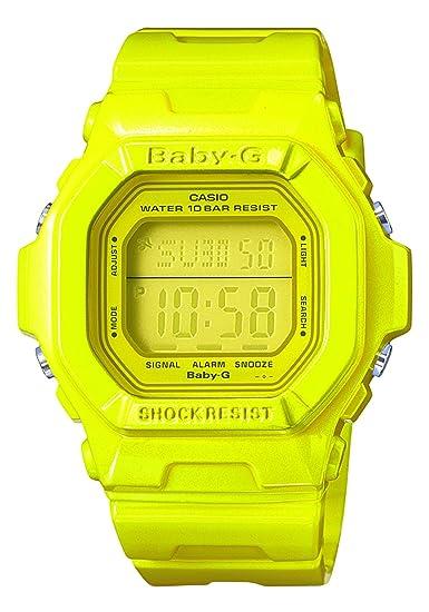 Casio Baby-G - Reloj digital de mujer de cuarzo con correa de resina amarilla (cronómetro, alarma, luz) - sumergible a 100 metros: Amazon.es: Relojes