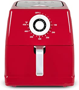 Paula Deen 8.5QT (1700 Watt) Large Air Fryer, Rapid Air Circulation System, Square Single Basket System, Ceramic Non-Stick Coating, Easy-to-Use Dial, 50 Recipes (Ruby Red)