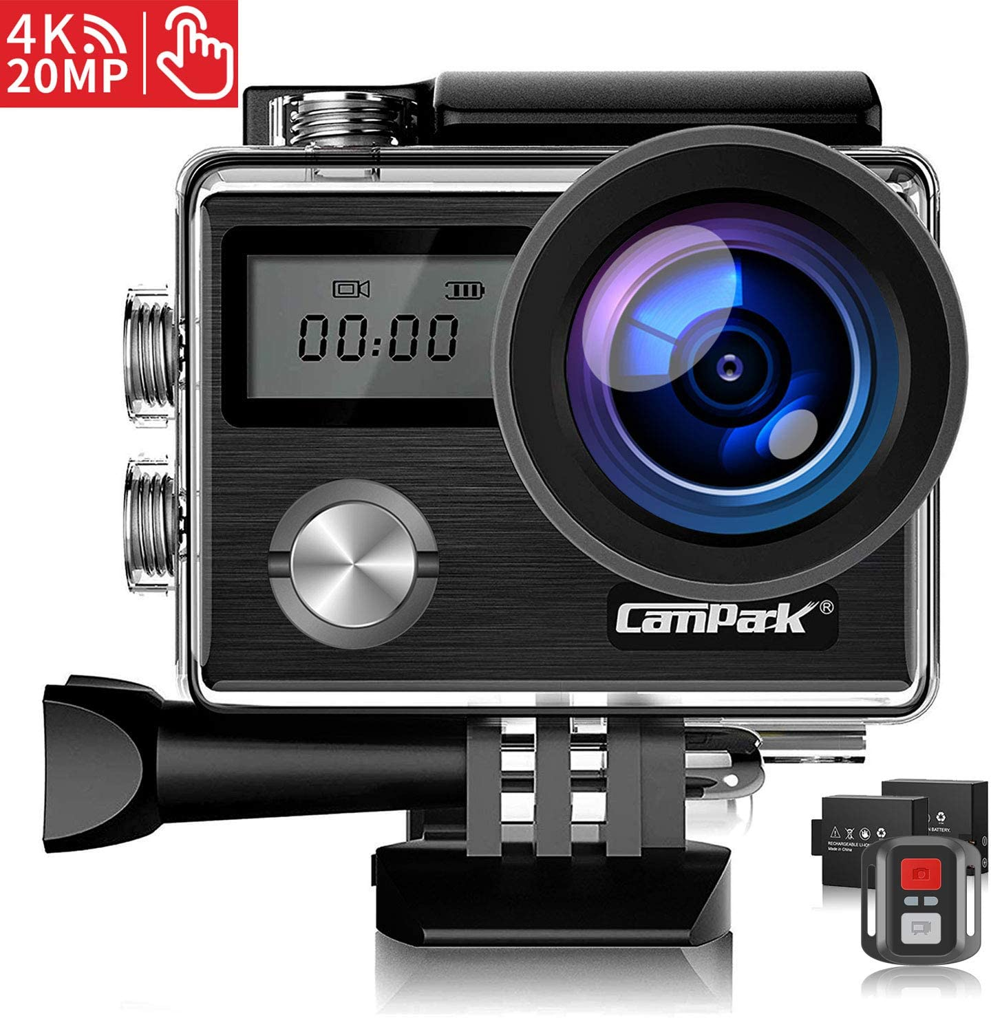 【Upgrade】 Campark X20 Action Camera Native 4K Ultra HD 20MP with EIS Stablization Touch Screen Remote Control Waterproof Camera 40M 2 Batteries and Professional Accessories Compatible with gopro 71GU6-EIV9LSL1500_