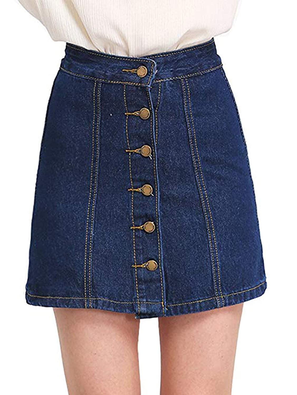 Dark bluee Verdusa Women's Button Front Denim ALine Short Skirt
