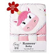 Ramees Baby Hooded Bath Towel and Washcloths, 5 Pack, Pink Unicorn