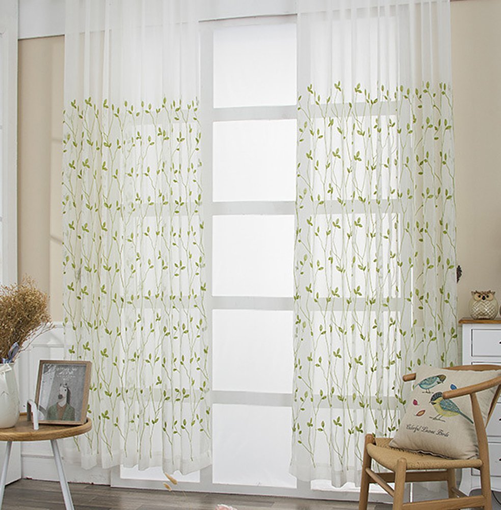 Aside Bside Pure Style Boughs Embroidered Home Treatment Voile Draperies Rod Pockets Sheer Curtains For Houseroom Kitchen and Child Room (1 Panel, W 52 x L 63 inch, Green)