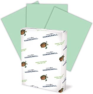 product image for Hammermill Colored Paper, 24 lb Green Printer Paper, 8.5 x 11-1 Ream (500 Sheets) - Made in the USA, Pastel Paper