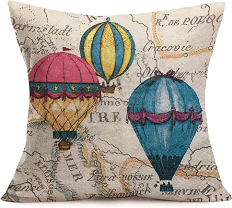 Amazon Com Fukeen Retro Cotton Linen Throw Pillow Cases Romantic Theme Hot Air Balloon With Inspirational Words For Home Sofa Decorations Square Cushion Cover 18x18 Inches Home Kitchen