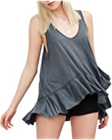 Century Star Womens Comfort T-shirt Solid Color Top Basic Sleeveless Blouse