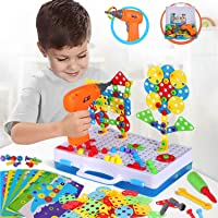 224 Pieces STEM Learning Toys Electric DIY Drill Educational Mushroom Pegboard Mosaic Puzzle Construction Engineering…
