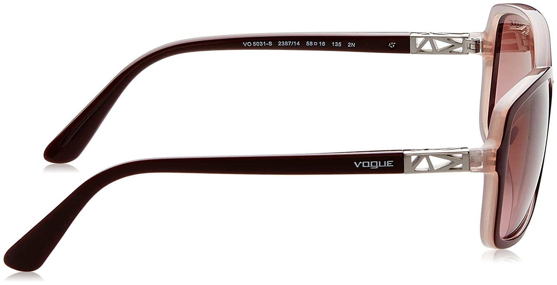 Vogue VO5031S Sunglasses 238714-58 Pink Gradient Brown Top Dk Bordeaux//pink Transp Frame