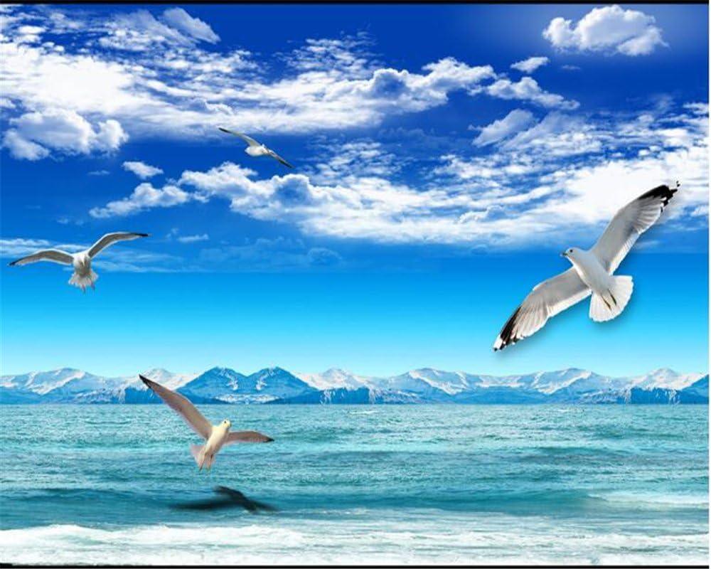 Wapel Personalizar Cualquier Tamaño De Papel Tapiz Blue Sky Nube Blanca Montaña Nieve Seaview Paloma Blanca Tv Muro Empapelado Decorativo Tela de seda 180x130CM: Amazon.es: Bricolaje y herramientas