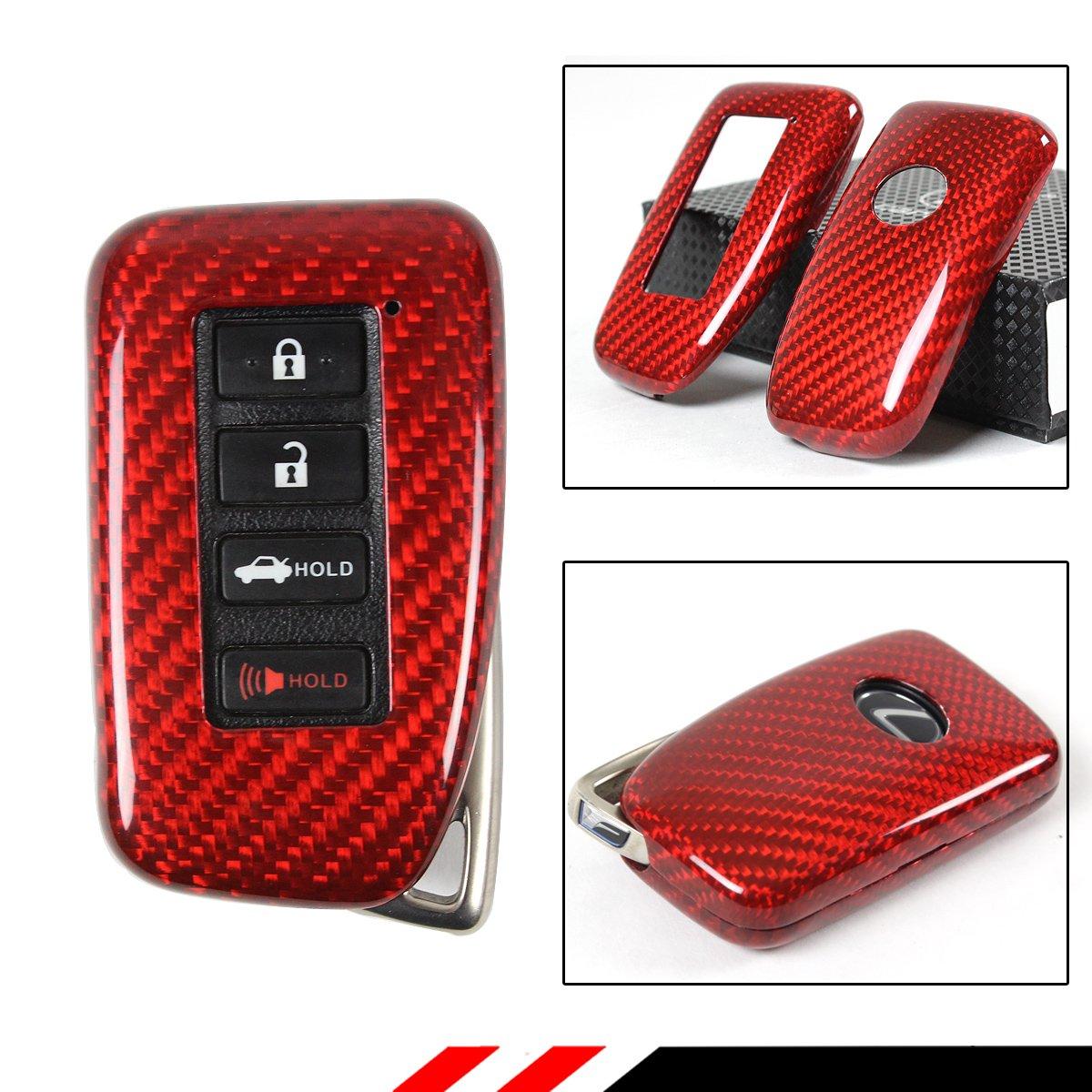 Luxury赤カーボンファイバーSnap On Case For LexusキーレスエントリスマートFob 2013 upモデル B079C7CBG9