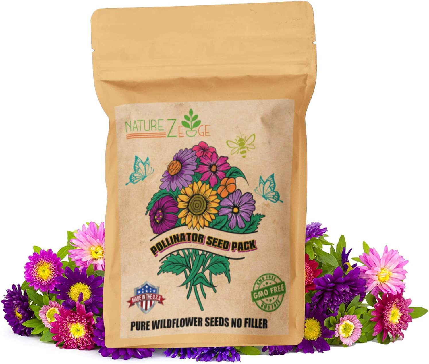 Wildflower Seeds, 35 Varieties of Flower Seeds, Mix of Annual and Perennial Seeds for Planting, Attract Butterflies and Hummingbirds, Non-GMO