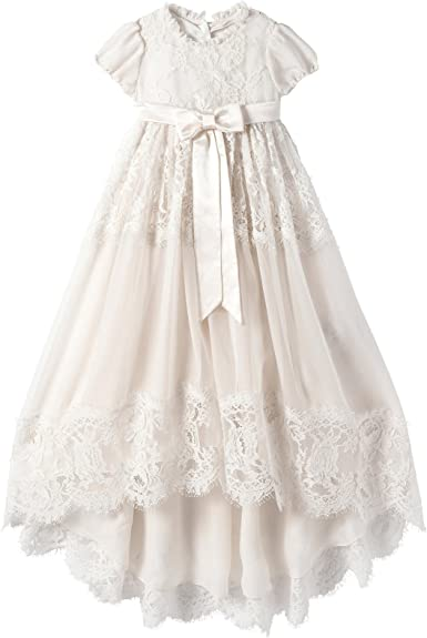 Michealboy White Ivory Lace Christening Gowns for Girls Baptism Dress 0-24 Months
