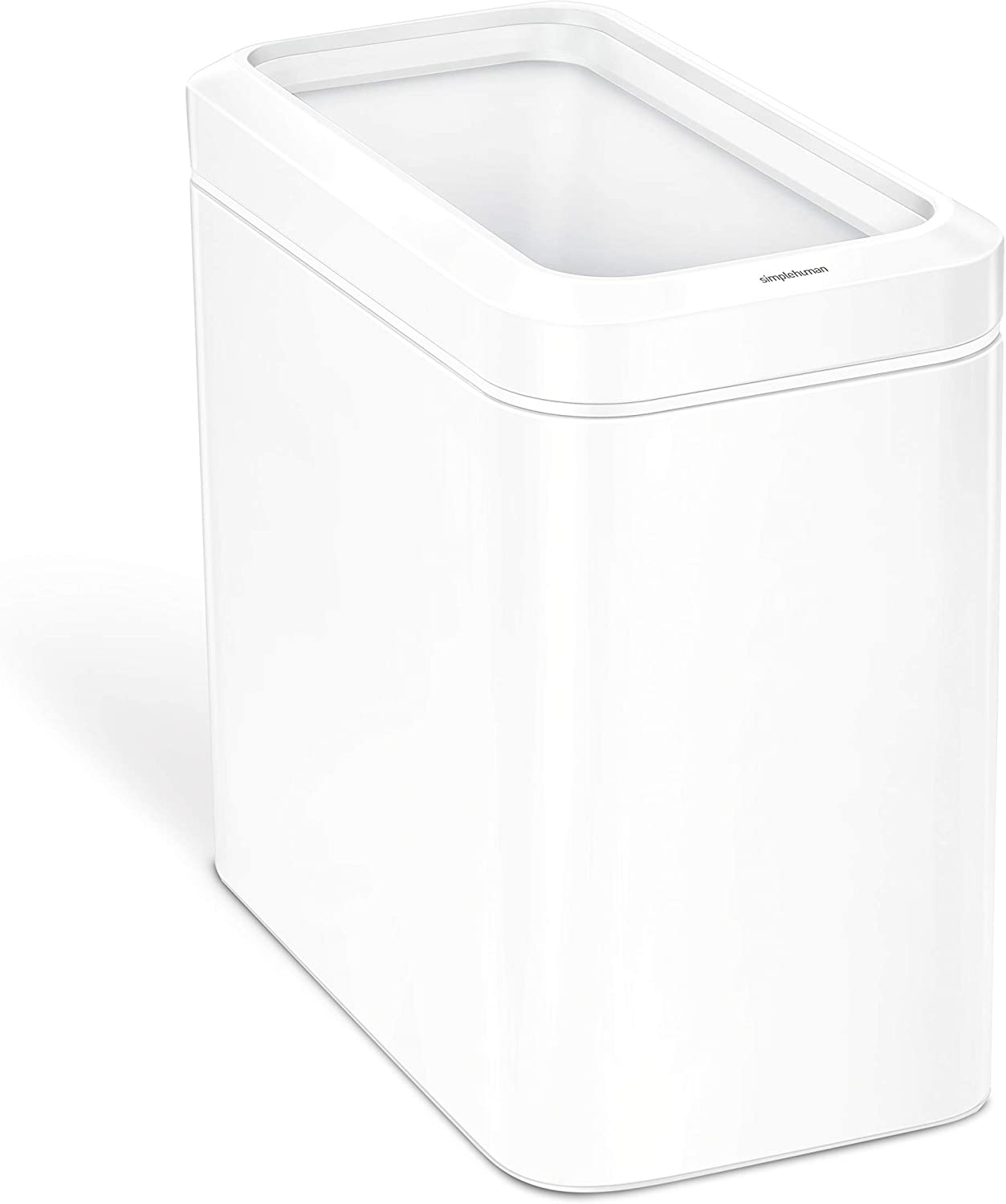 simplehuman 25 Liter / 6.6 Gallon Slim Open Top Trash Can Commercial Grade Heavy Gauge, White Stainless Steel
