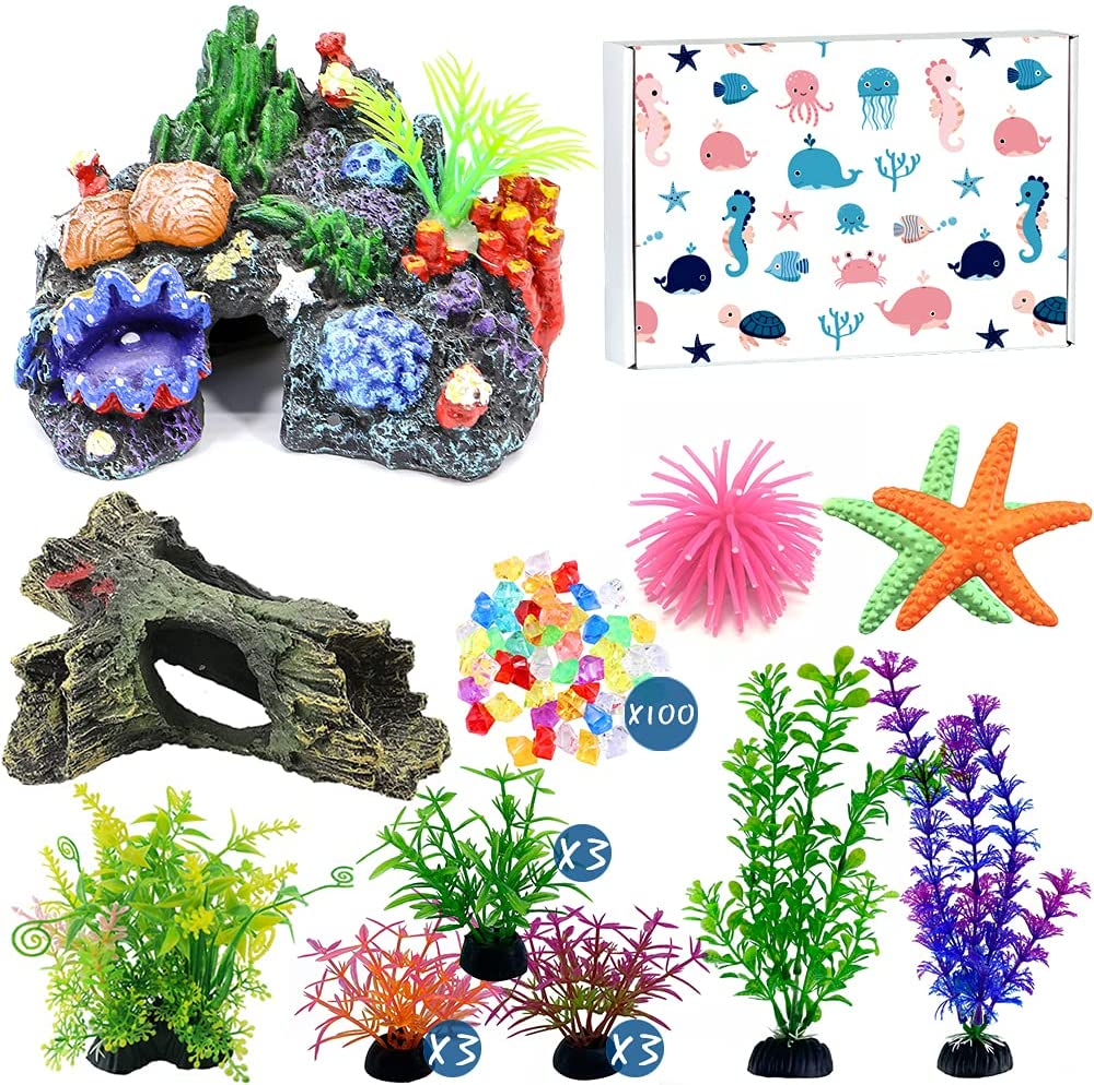 LanTulla Large Aquarium Decorations, Betta Fish Tank Accessories Decorations with Rocks and Plastic Plants, Beta Fish Tank Decor Set for Fish Aquarium Ornaments