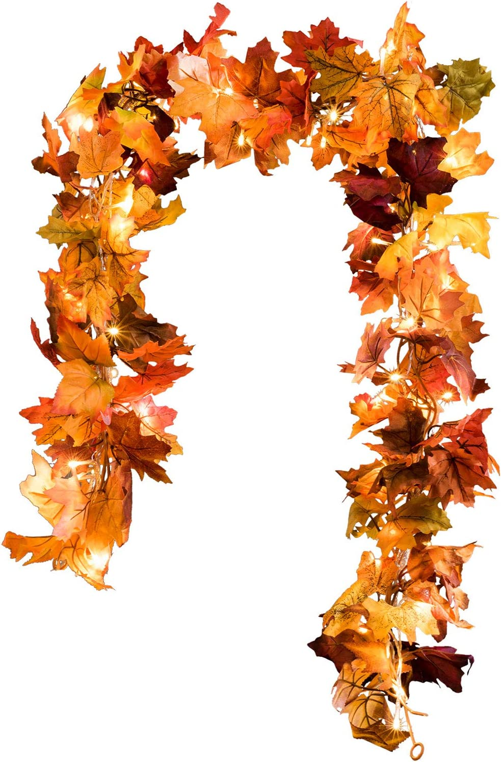 DearHouse 2 Pack Fall Garland Maple Leaf, 5.9Ft/Piece Hanging Vine Garland with 16.4ft 40 Led String Light, Artificial Autumn Garland Thanksgiving Decor for Home Wedding Fireplace Party