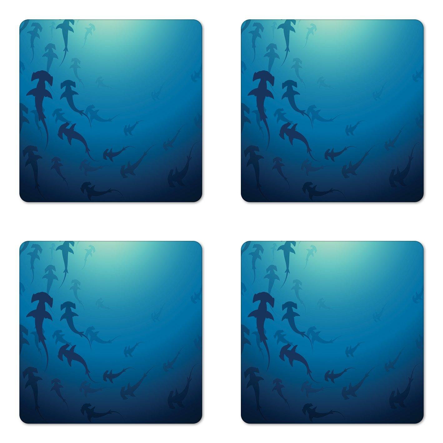 Ambesonne Sea Animals Coaster Set of