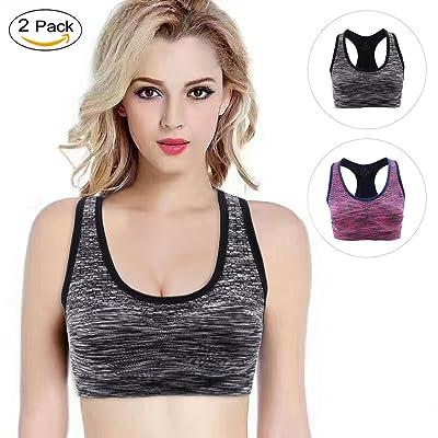 15b33507f967b LOVE YANQI 2 Pack High Impact Sports Bra for Yoga Exercise Running Cycling