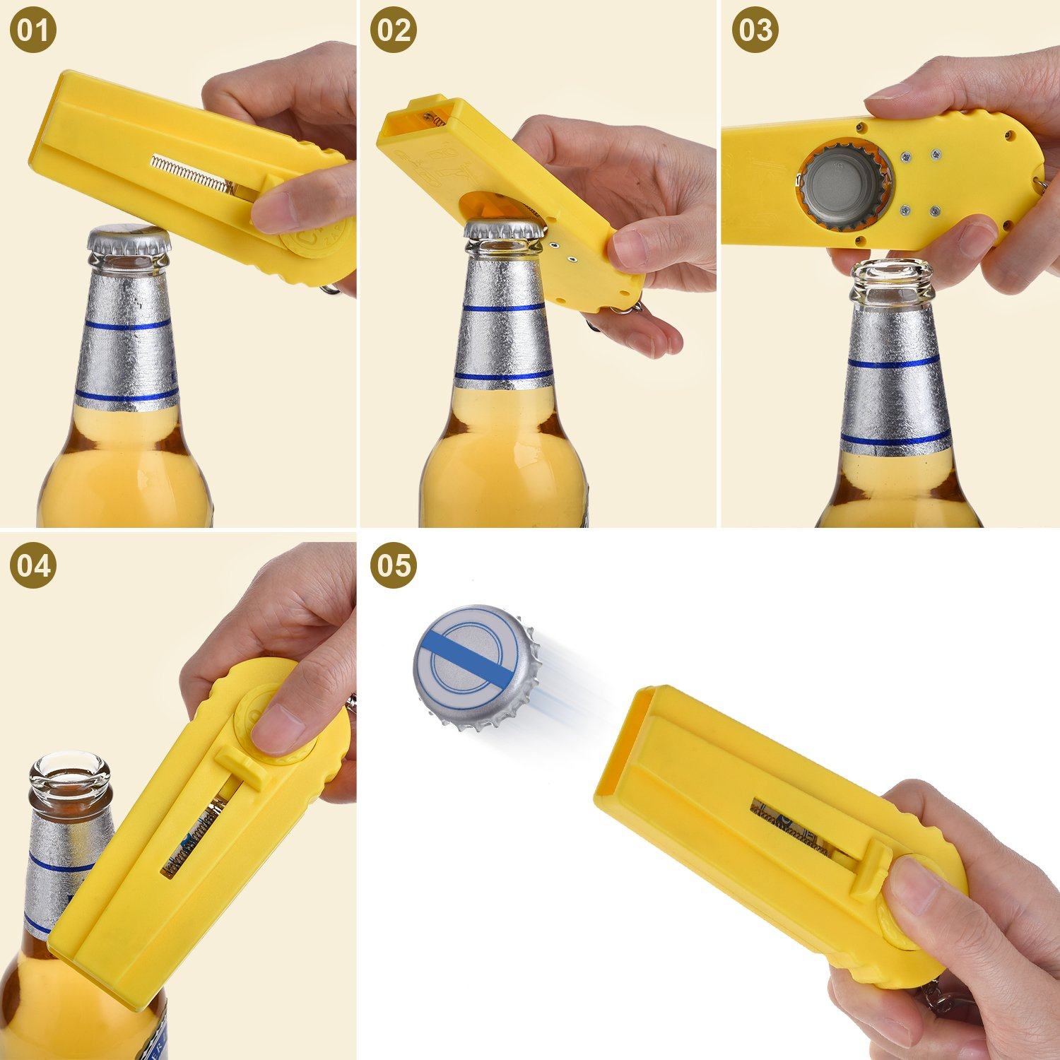 TOODOO 7 Pieces Cap Zappa Beer Bottle Opener Cap Launcher Shooters with Key Ring (7 Colors)
