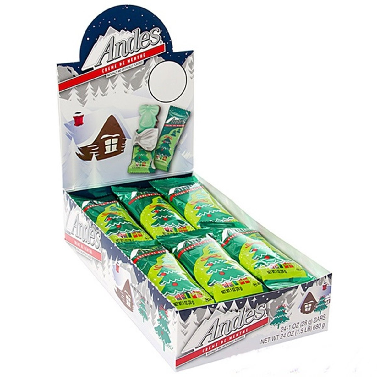 Andes Creme De Menthe Mints Christmas Tree Candy Bars, Pack of 24