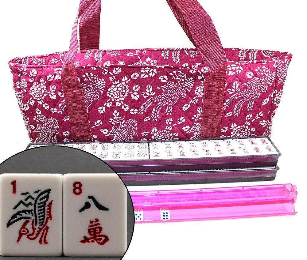 166 Tiles American Mahjong Set Violet Red Phoenix Soft Bag 4 Color Pushers/Racks Easy Carry Western Mahjongg
