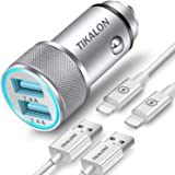 TIKALONG Car Charger Compatible with iPhone 11/XR/XS/X/Pro Max 8/7/6/6S Plus 5S/5C/SE2, iPad Air Mini Pro (2.4A Dual Port USB Car Charger with 2X 3ft Charging Cable) (3in1 Pack)