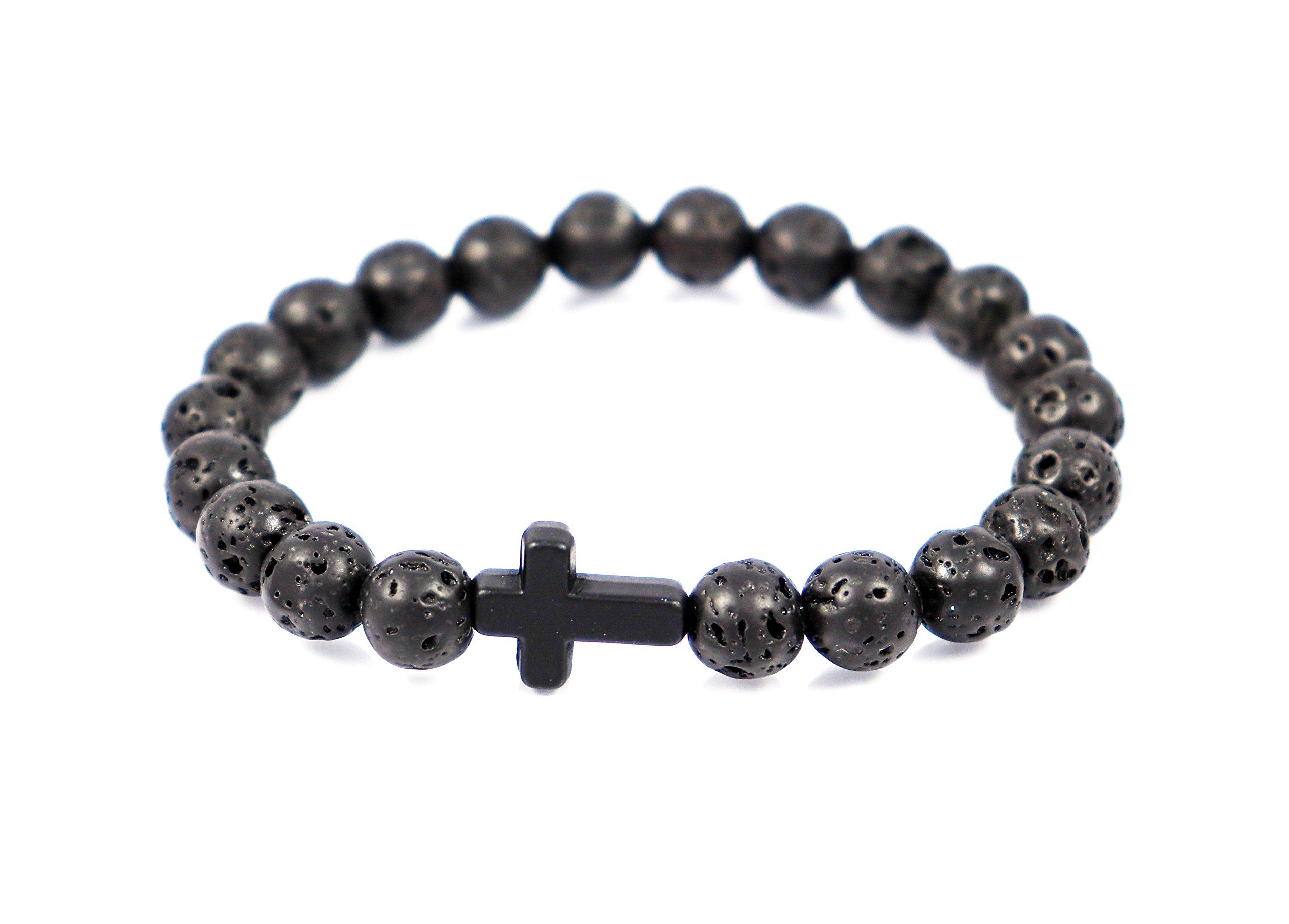 Hapi Life Mens Womens Religious Cross & 8mm Lava Rock Essential Oil Diffuser Energy Healing Elastic Bracelet Jewelry Bag
