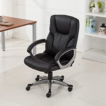 Belleze Executive Modern High Back Leather Chair Home Office Ergonomic  Adjustable Height (Black)