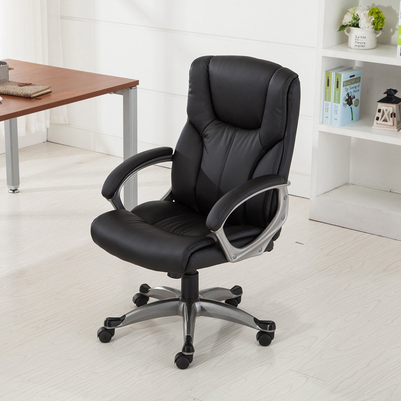 Belleze Executive Modern High-Back Leather Chair Home Office Ergonomic Adjustable Height (Black)