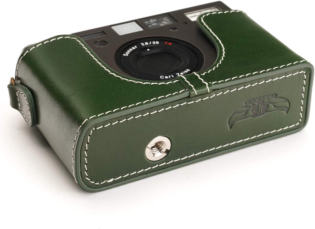 BolinUS Handmade Genuine Real Leather Half Camera Case Bag Cover for Contax T3 Camera with Hand Strap Contax T3 Case LavaBrown