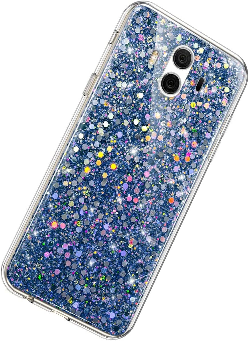 Herbests Compatible with Huawei Mate 10 Glitter Case Girl Women Bling Glitter Sparkle Crystal Diamond Rhinestone Crystal Clear Silicone TPU Bumper Case Protective Phone Case,Silver