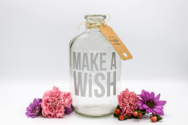 Silber Vanilalu Sparflasche Wunscherf/üller Make a Wish Spardose das ideale Geschenk Sparb/üchse Geldgeschenk