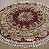 Yilong 5.6 x5.6  Round Handmade Silk Rug Medium Classic Tabriz Medallion with Floral Patterns Hand Knotted Home...