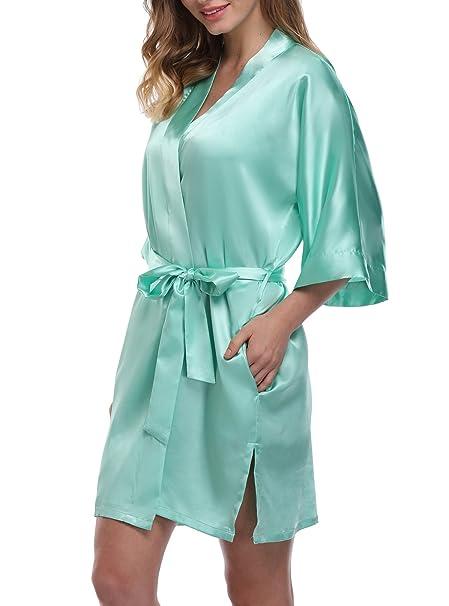 72cdeadcd0 Women s Short Kimono Robe Pure Color Silky Bathrobe Bridal Party ...