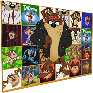 Bestrgi Wall Art for Living Room Posters On Canvas Painting Looney Tunes Tasmanian Devil Taz Modern Landscape Paints Pictures Decorations Artwork Home Decor Framed 16x24 Inches No Frame Only Canvas