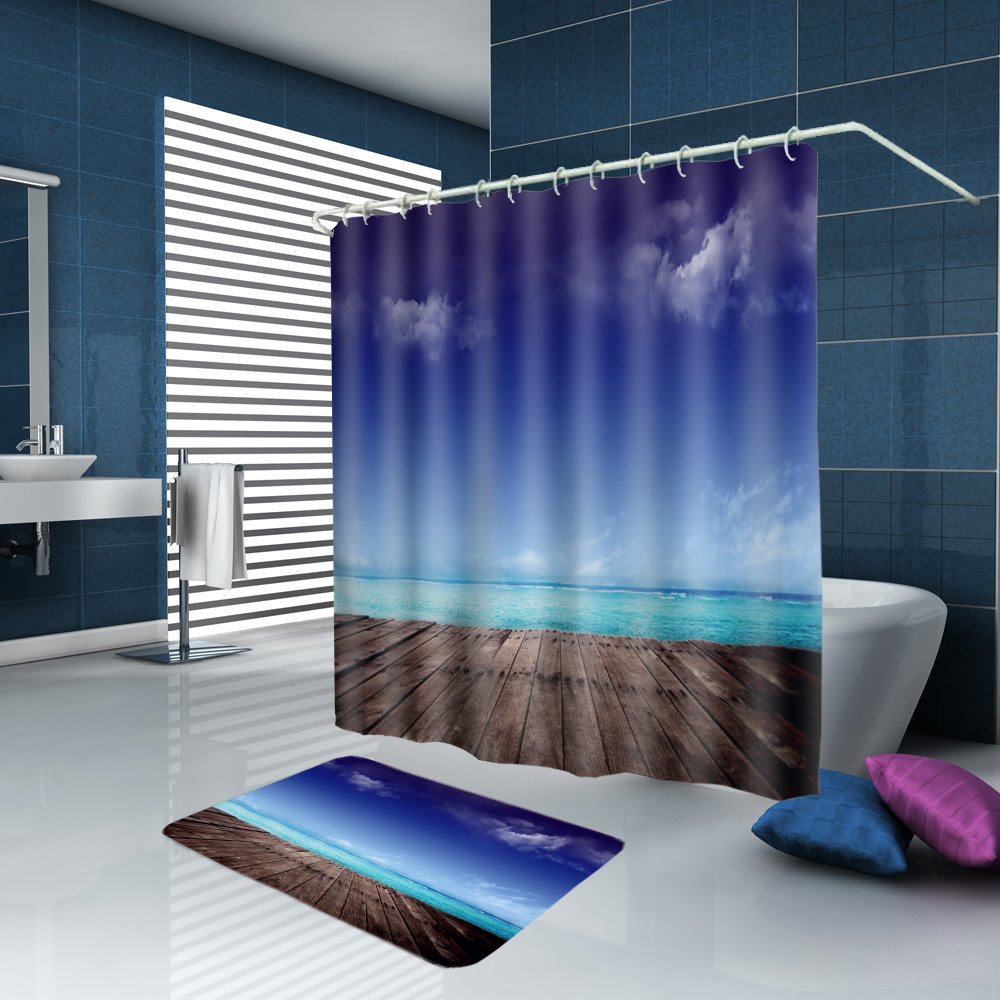 ALFALFA Home Bathroom Decorative Polyester Fabric Ocean Beach Theme Shower Curtain With Hooks, Waterproof, Mildew Resistant 72'' W x 72'' H (180CM x 180CM) - Beach Wood Block