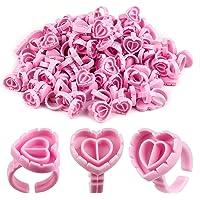 SAVITA 100 Stuks Wimperlijm Houder Ringen Hartvormige Plastic Lash Lijm Ringen Fan Blossom Lijm Cups Wimper Beauty Tool…