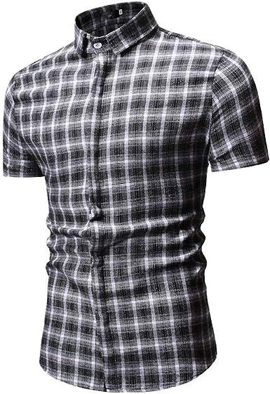 Camisa De Manga Corta A Cuadros Hombres del Verano De La Blusa De Ocio: Amazon.es: Ropa y accesorios