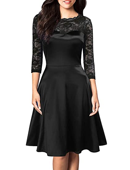 a494ac2c1836 Amazon.com: FORTRIC Women Vintage Floral Lace Long Sleeve Cocktail Party Formal  Swing Dress: Clothing